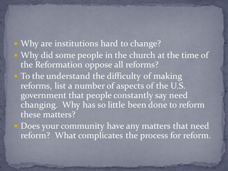 Reform – not unity – too late Positive outcomes Needed reforms Religious orders – rules New religious orders to help reform Standardized practices and well defined discipline – guided church to Vatican II