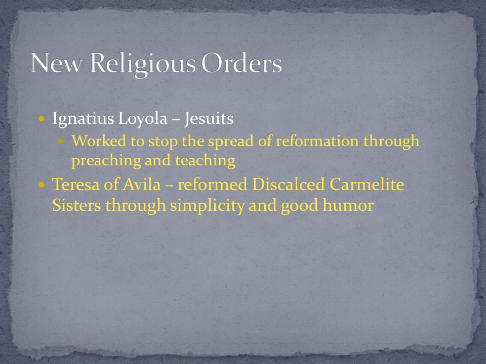 Reflection: How is the Catholic Reformation different from the Protestant Reformation.