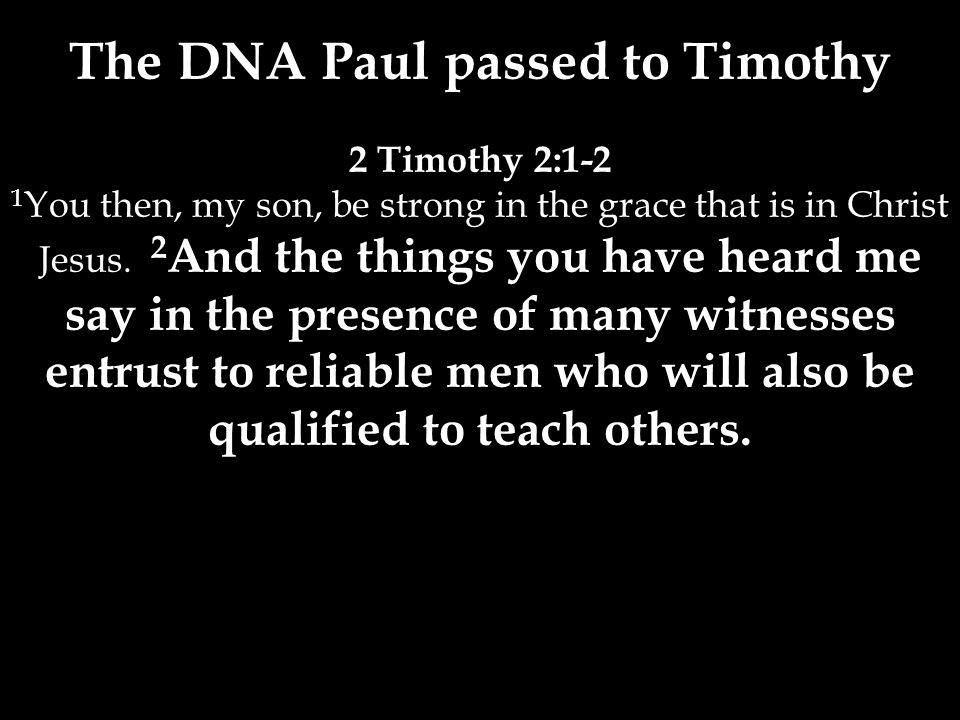 The DNA Paul passed to Timothy 2 Timothy 2:1-2 1 You then, my son, be strong in the grace that is in Christ Jesus.