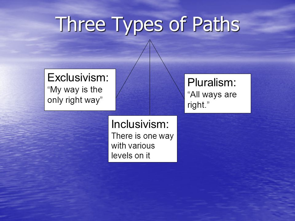 """Three Types of Paths Pluralism: """"All ways are right."""" Exclusivism: """"My way is the only right way"""" Inclusivism: There is one way with various levels on"""