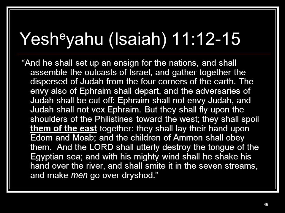46 Yesh e yahu (Isaiah) 11:12-15 And he shall set up an ensign for the nations, and shall assemble the outcasts of Israel, and gather together the dispersed of Judah from the four corners of the earth.