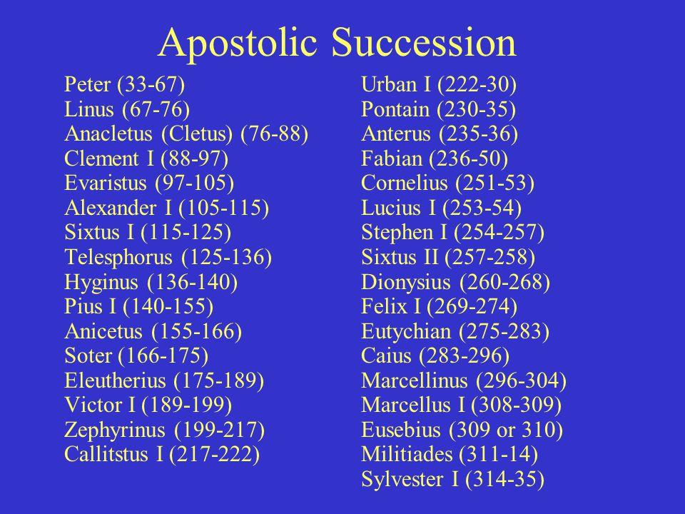 Apostolic Succession Peter (33-67) Linus (67-76) Anacletus (Cletus) (76-88) Clement I (88-97) Evaristus (97-105) Alexander I (105-115) Sixtus I (115-125) Telesphorus (125-136) Hyginus (136-140) Pius I (140-155) Anicetus (155-166) Soter (166-175) Eleutherius (175-189) Victor I (189-199) Zephyrinus (199-217) Callitstus I (217-222) Urban I (222-30) Pontain (230-35) Anterus (235-36) Fabian (236-50) Cornelius (251-53) Lucius I (253-54) Stephen I (254-257) Sixtus II (257-258) Dionysius (260-268) Felix I (269-274) Eutychian (275-283) Caius (283-296) Marcellinus (296-304) Marcellus I (308-309) Eusebius (309 or 310) Militiades (311-14) Sylvester I (314-35)