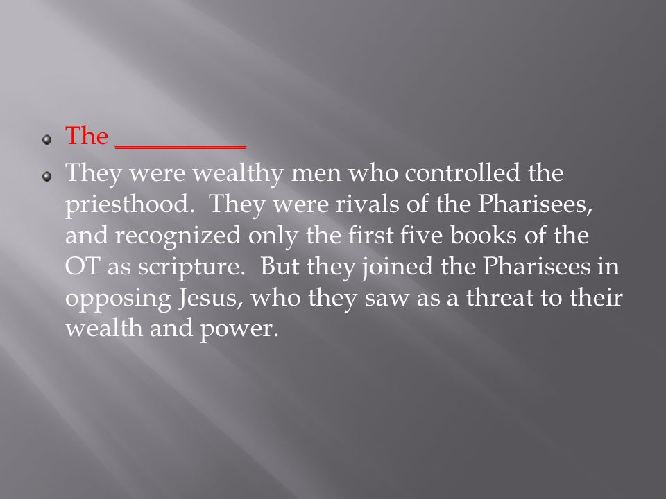 The __________ They were wealthy men who controlled the priesthood.