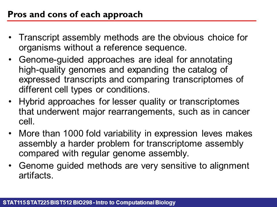 STAT115 STAT225 BIST512 BIO298 - Intro to Computational Biology Pros and cons of each approach Transcript assembly methods are the obvious choicefor o