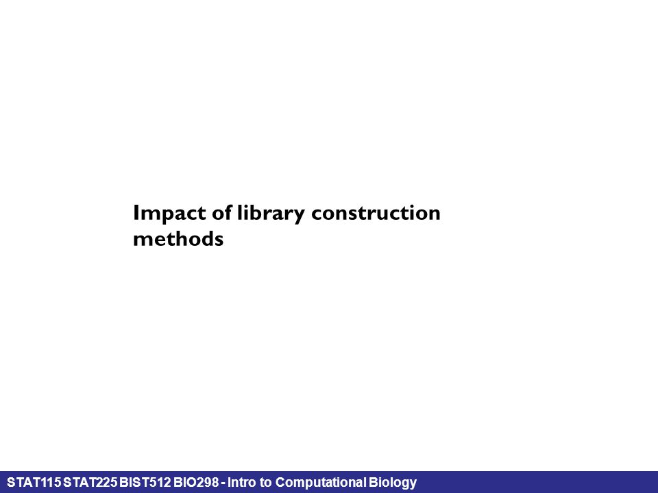 STAT115 STAT225 BIST512 BIO298 - Intro to Computational Biology Impact of library construction methods