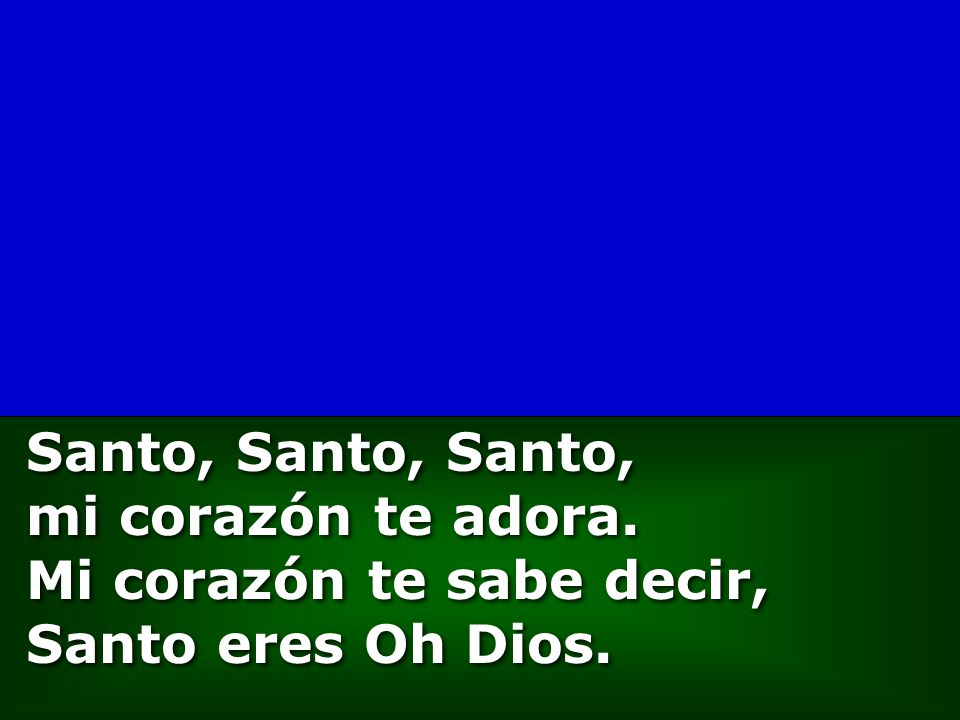 Santo, Santo, Santo, mi corazón te adora. Mi corazón te sabe decir, Santo eres Oh Dios.