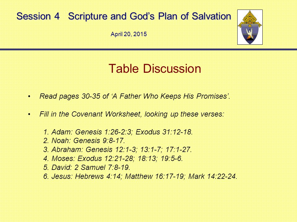 Session 4 Scripture and God's Plan of Salvation Table Discussion Read pages 30-35 of 'A Father Who Keeps His Promises'.