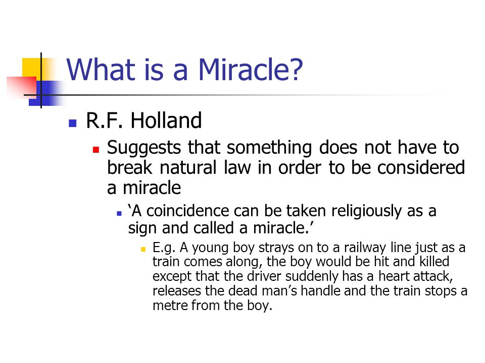 What is a Miracle. R.F.