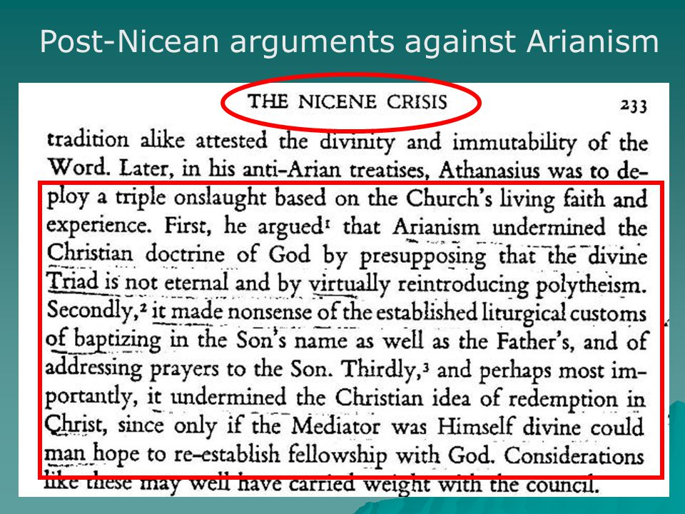 Post-Nicean arguments against Arianism
