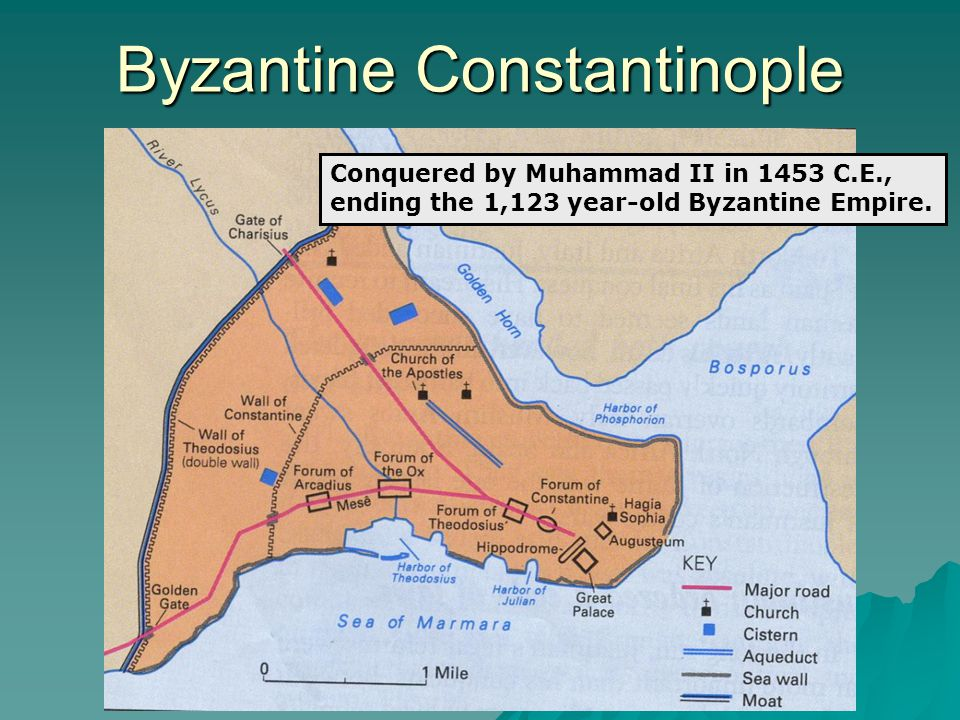 Byzantine Constantinople Conquered by Muhammad II in 1453 C.E., ending the 1,123 year-old Byzantine Empire.
