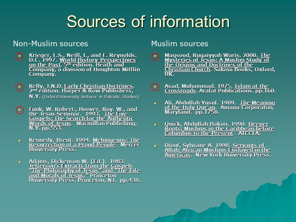 Sources of information  Krieger, L.S., Neill, I., and E.