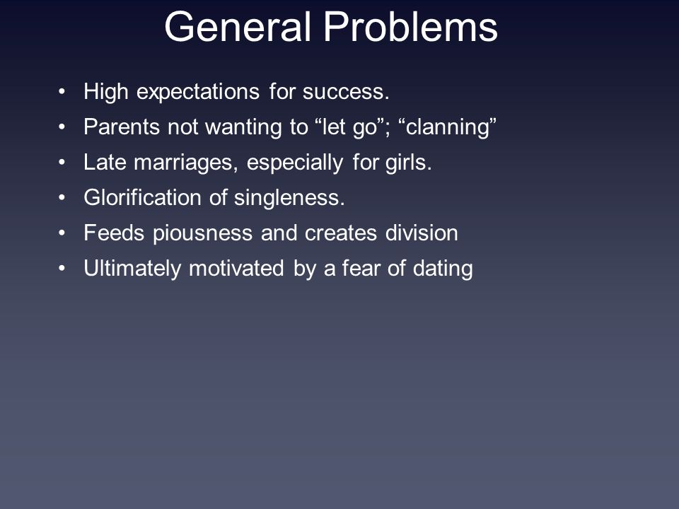 General Problems High expectations for success.