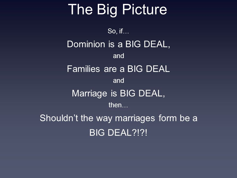 The Big Picture So, if… Dominion is a BIG DEAL, and Families are a BIG DEAL and Marriage is BIG DEAL, then… Shouldn't the way marriages form be a BIG DEAL?!?!