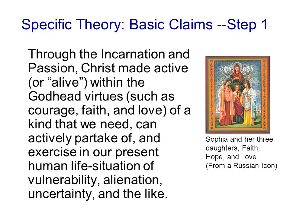 Specific Theory: Basic Claims --Step 1 Through the Incarnation and Passion, Christ made active (or alive ) within the Godhead virtues (such as courage, faith, and love) of a kind that we need, can actively partake of, and exercise in our present human life-situation of vulnerability, alienation, uncertainty, and the like.
