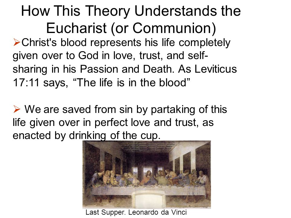 How This Theory Understands the Eucharist (or Communion) Last Supper.
