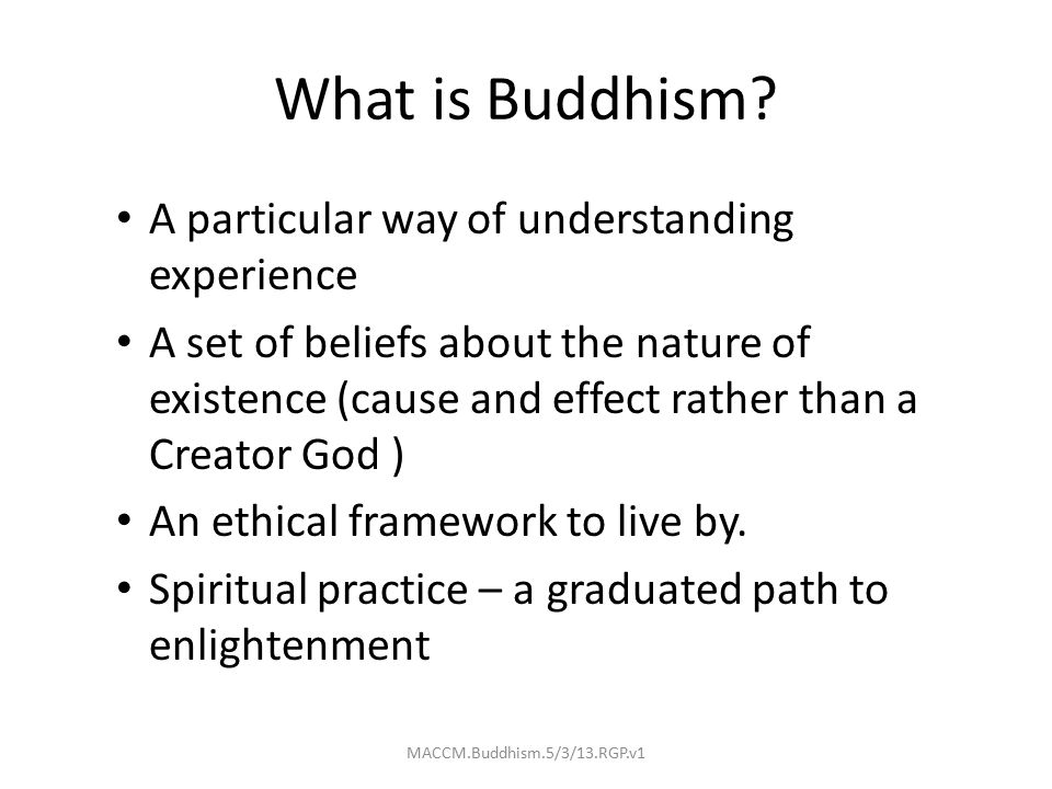 What is Buddhism? A particular way of understanding experience A set of beliefs about the nature of existence (cause and effect rather than a Creator