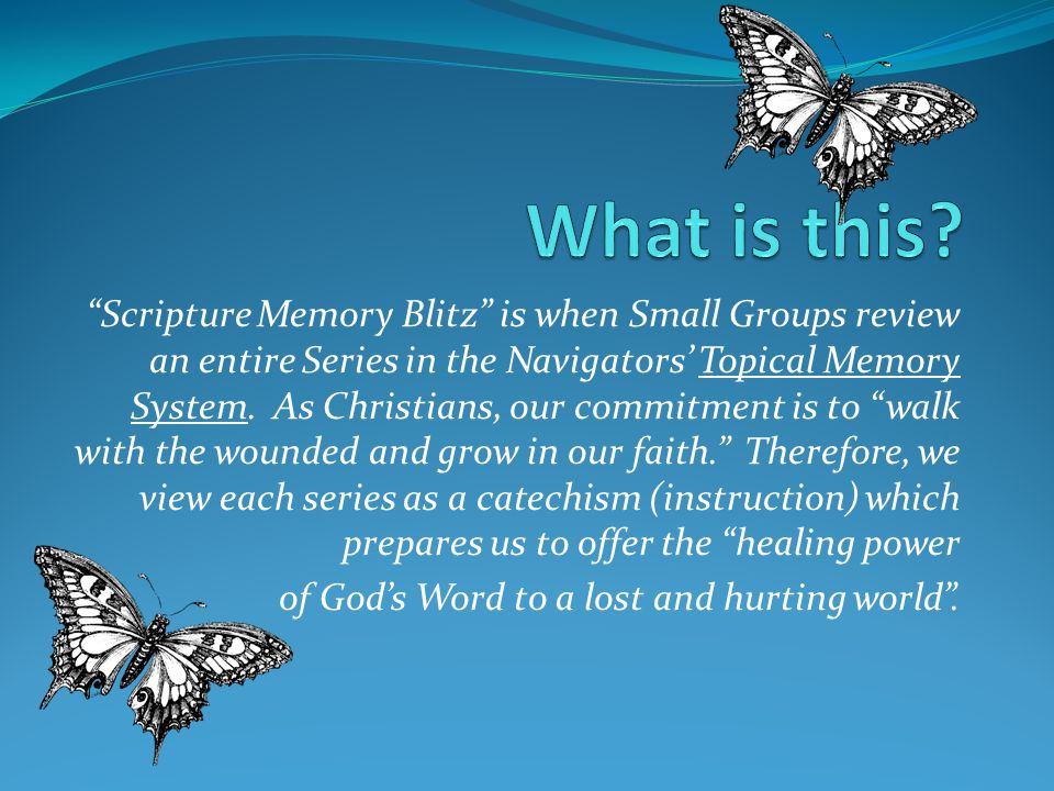 Scripture Memory Blitz is when Small Groups review an entire Series in the Navigators' Topical Memory System.
