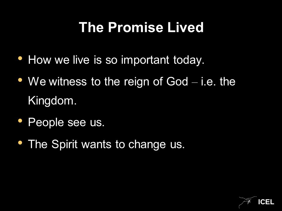 ICEL The Promise Lived How we live is so important today.