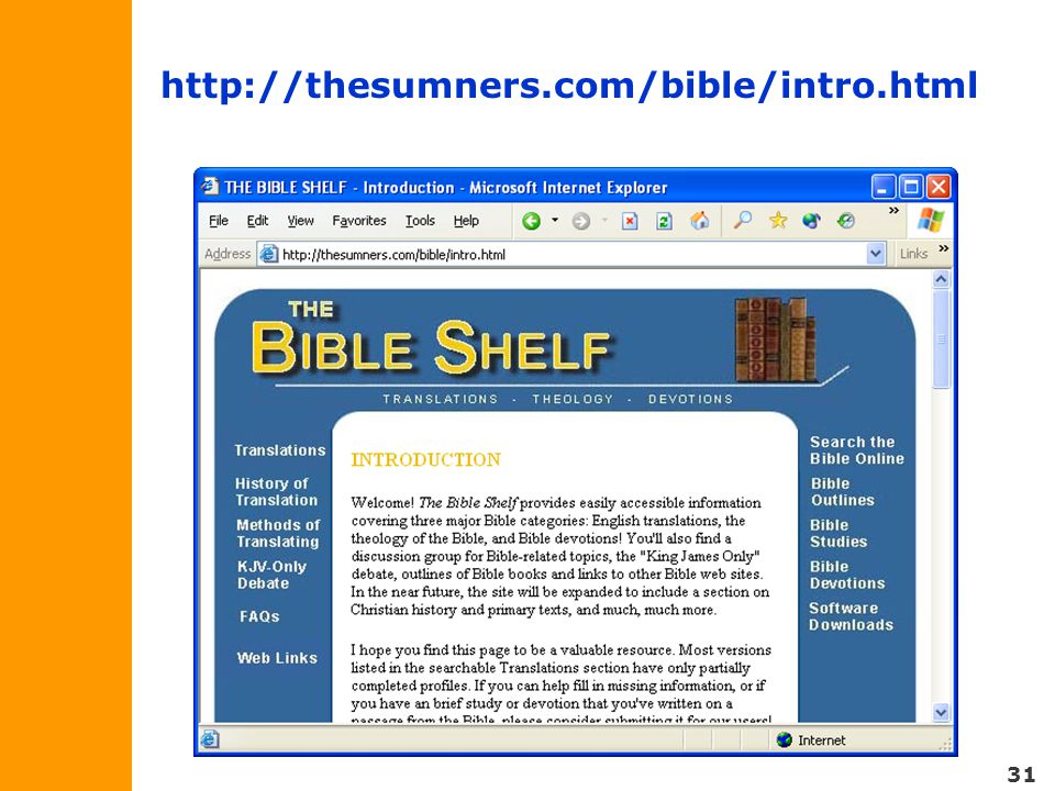 31 http://thesumners.com/bible/intro.html