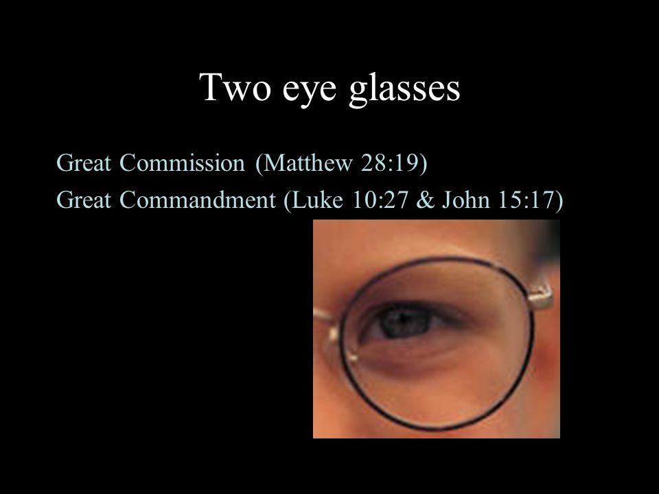 Two eye glasses Great Commission (Matthew 28:19) Great Commandment (Luke 10:27 & John 15:17)