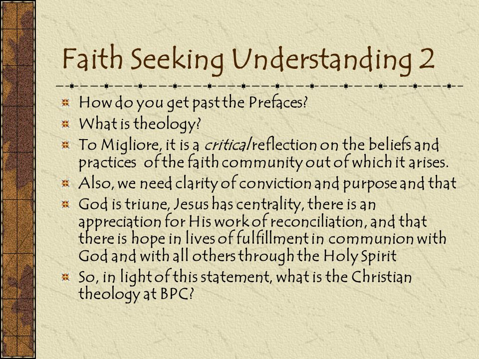 Faith Seeking Understanding 2 How do you get past the Prefaces.