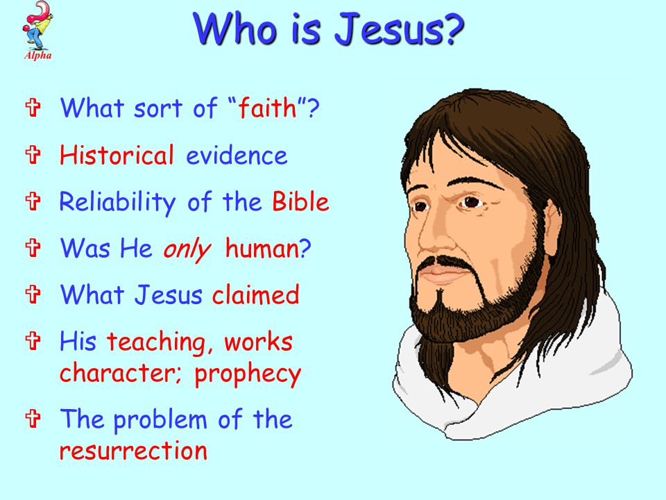  What sort of faith .  Historical evidence  Reliability of the Bible  Was He only human.