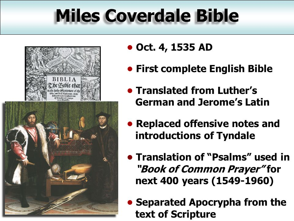 Miles Coverdale Bible Oct.