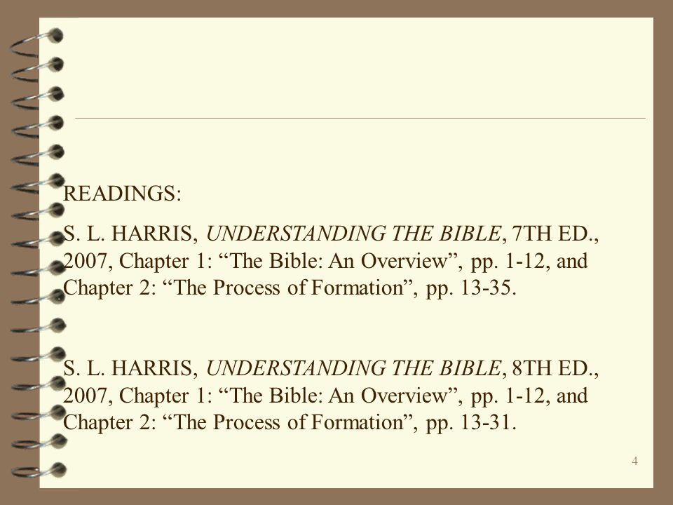 """4 READINGS: S. L. HARRIS, UNDERSTANDING THE BIBLE, 7TH ED., 2007, Chapter 1: """"The Bible: An Overview"""", pp. 1-12, and Chapter 2: """"The Process of Format"""