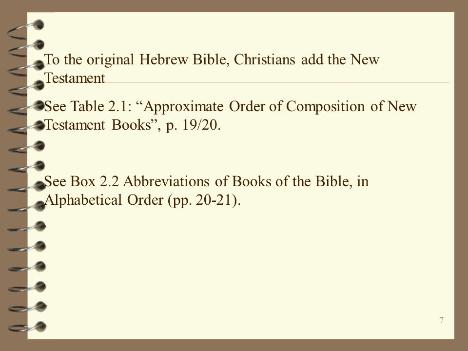 8 THE CHRISTIAN BIBLE: - for most Protestants the Bible consists of 66 books (39 from the Hebrew Scriptures/Old Testament and 27 from the New Testament) (see Table 1.1, pp.