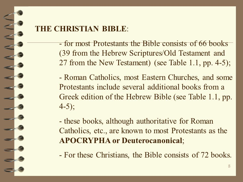 8 THE CHRISTIAN BIBLE: - for most Protestants the Bible consists of 66 books (39 from the Hebrew Scriptures/Old Testament and 27 from the New Testamen