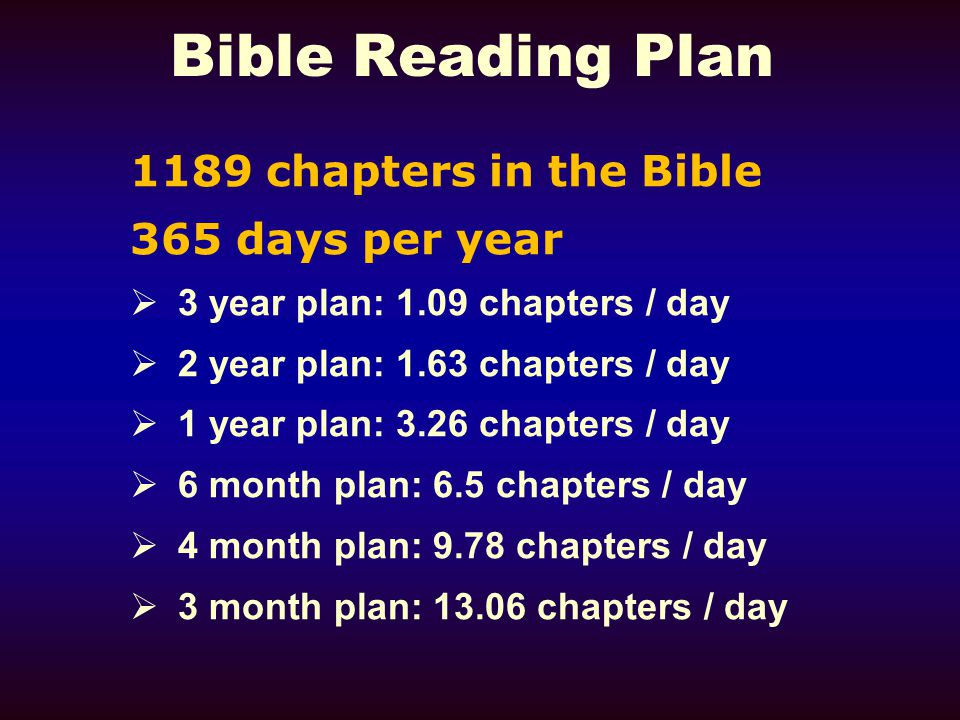 Bible Reading Plan 1189 chapters in the Bible 365 days per year  3 year plan: 1.09 chapters / day  2 year plan: 1.63 chapters / day  1 year plan: 3.26 chapters / day  6 month plan: 6.5 chapters / day  4 month plan: 9.78 chapters / day  3 month plan: 13.06 chapters / day