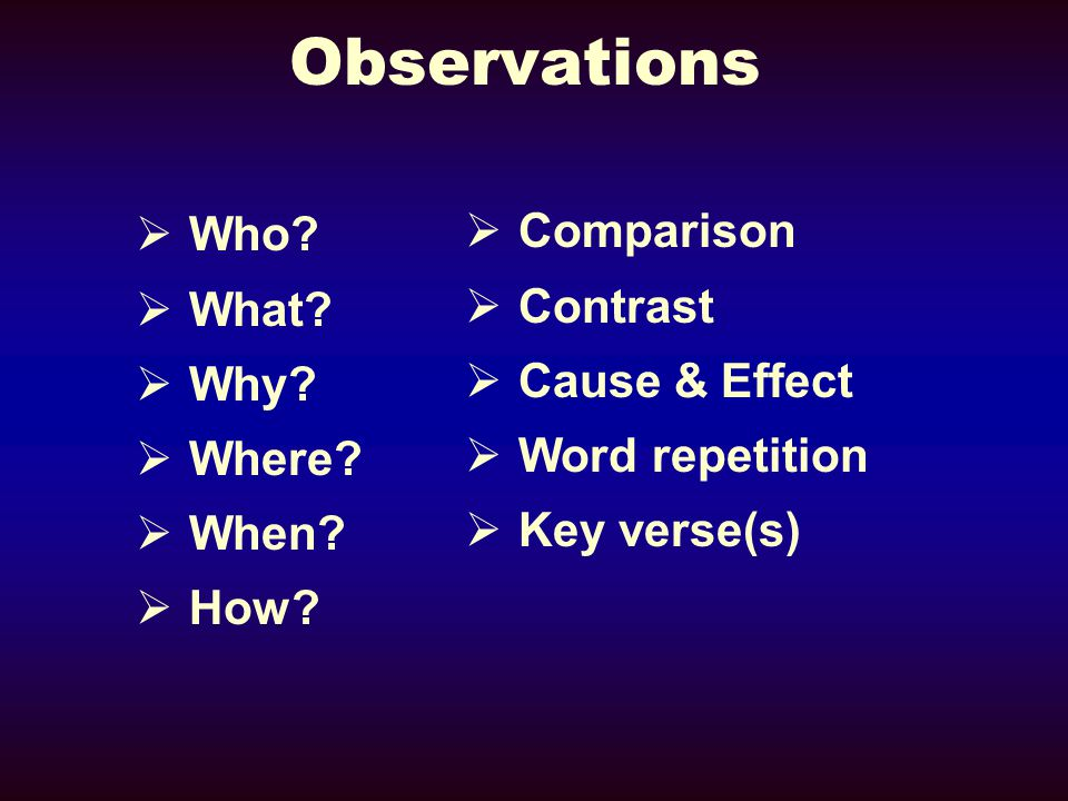 Observations  Who.  What.  Why.  Where.  When.