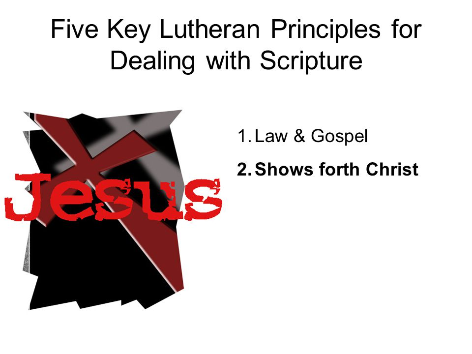 I believe in Jesus Christ, God's only Son, our Lord… Lutherans are accused of being Second Article Christians Everything is a means to an end, except Jesus.