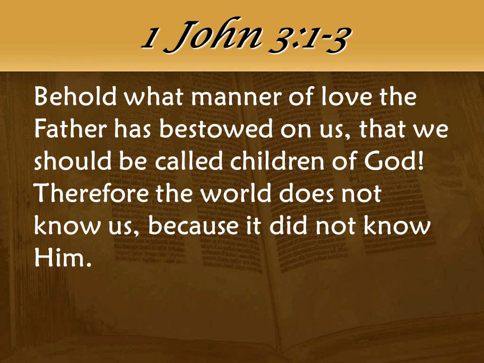 Behold what manner of love the Father has bestowed on us, that we should be called children of God.