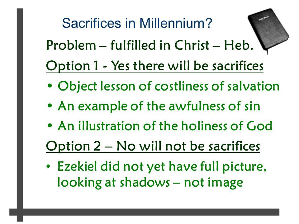 Sacrifices in Millennium.Problem – fulfilled in Christ – Heb.