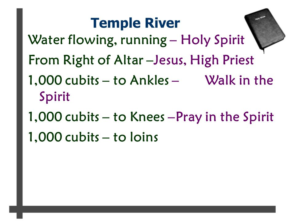 Temple River Water flowing, running – Holy Spirit From Right of Altar –Jesus, High Priest 1,000 cubits – to Ankles –Walk in the Spirit 1,000 cubits – to Knees –Pray in the Spirit 1,000 cubits – to loins