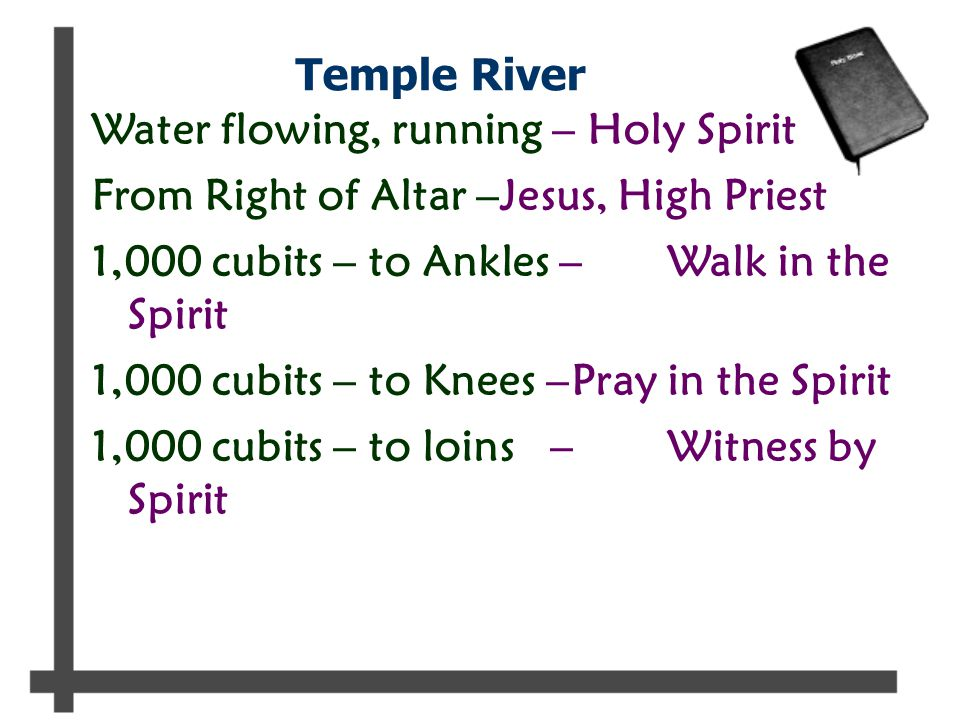 Temple River Water flowing, running – Holy Spirit From Right of Altar –Jesus, High Priest 1,000 cubits – to Ankles –Walk in the Spirit 1,000 cubits – to Knees –Pray in the Spirit 1,000 cubits – to loins –Witness by Spirit
