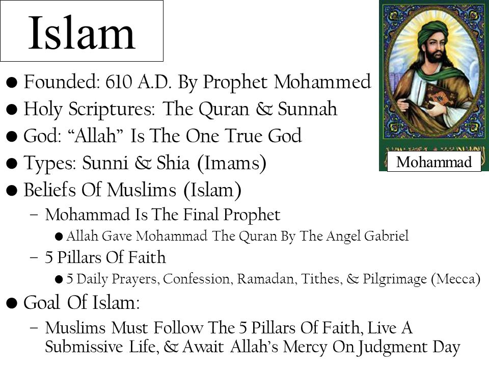 """Islam Founded: 610 A.D. By Prophet Mohammed Holy Scriptures: The Quran & Sunnah God: """"Allah"""" Is The One True God Types: Sunni & Shia (Imams) Beliefs O"""