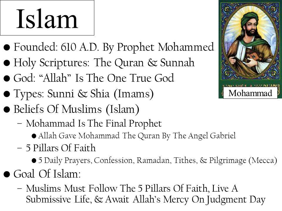 Islam Founded: 610 A.D.
