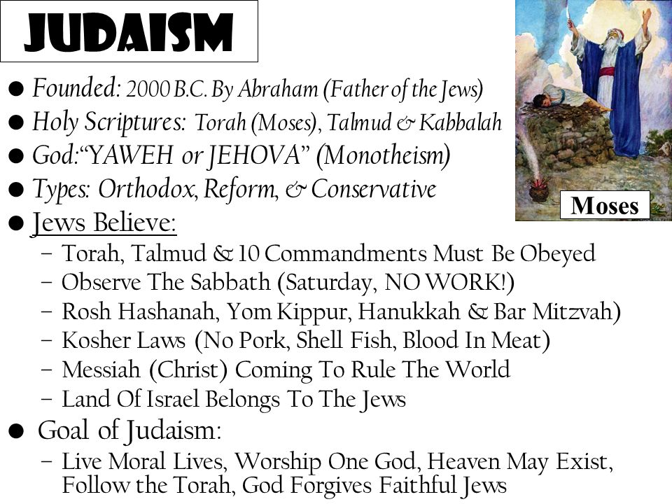 """Founded: 2000 B.C. By Abraham (Father of the Jews) Holy Scriptures: Torah (Moses), Talmud & Kabbalah God:""""YAWEH or JEHOVA"""" (Monotheism) Types: Orthodo"""