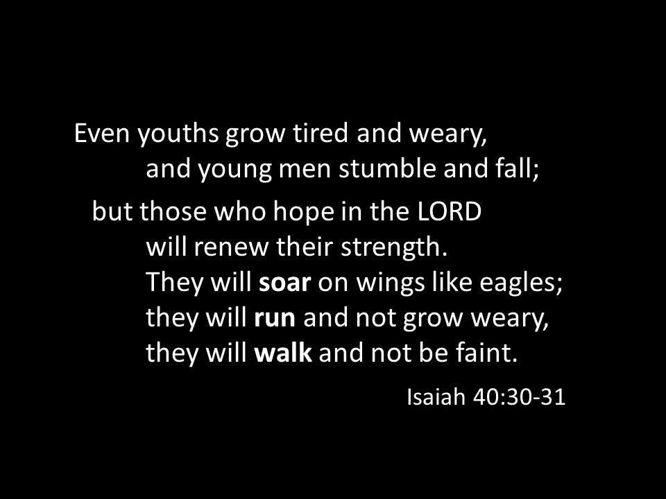 Even youths grow tired and weary, and young men stumble and fall; but those who hope in the LORD will renew their strength.