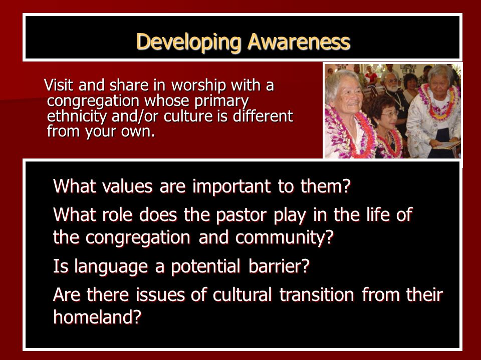 Developing Awareness Visit and share in worship with a congregation whose primary ethnicity and/or culture is different from your own.