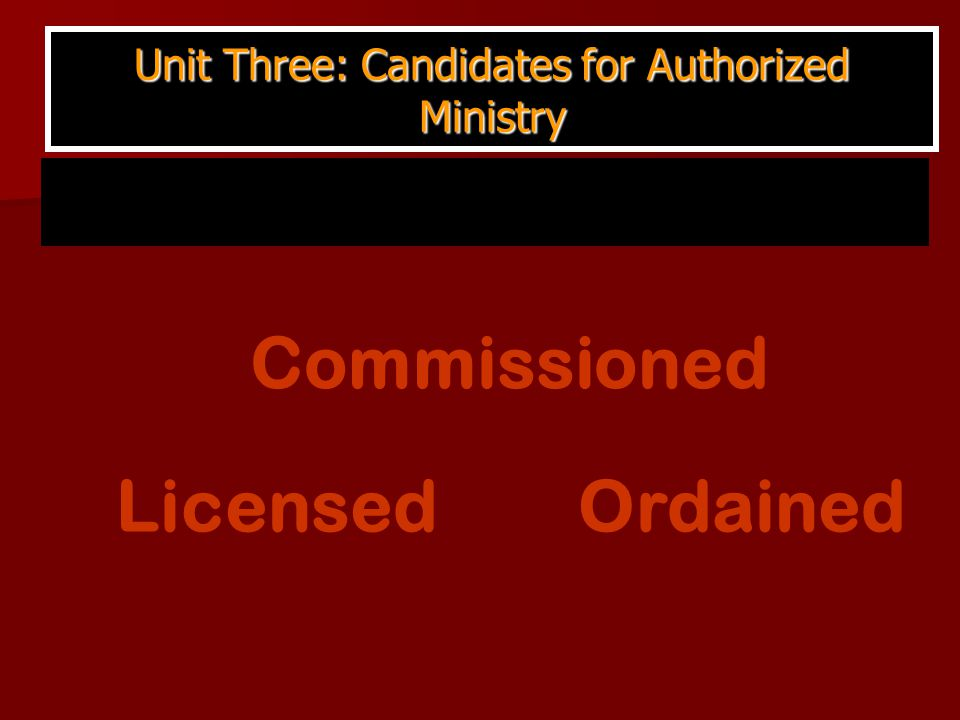 Unit Three: Candidates for Authorized Ministry Ordained Licensed Commissioned