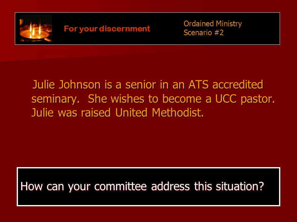 Julie Johnson is a senior in an ATS accredited seminary.