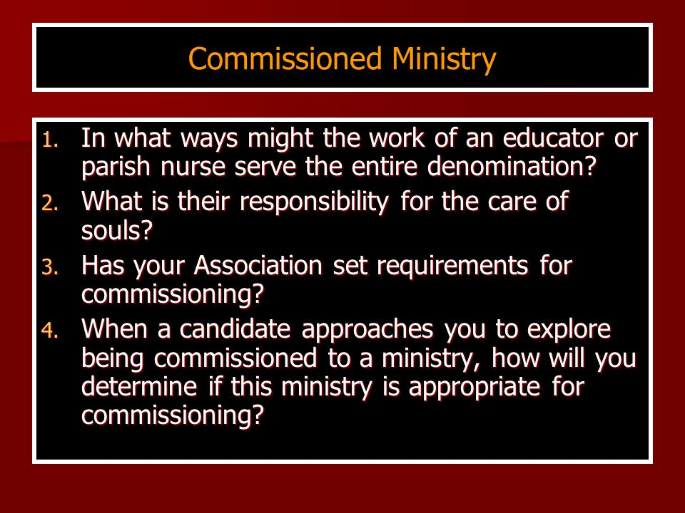 Commissioned Ministry 1.