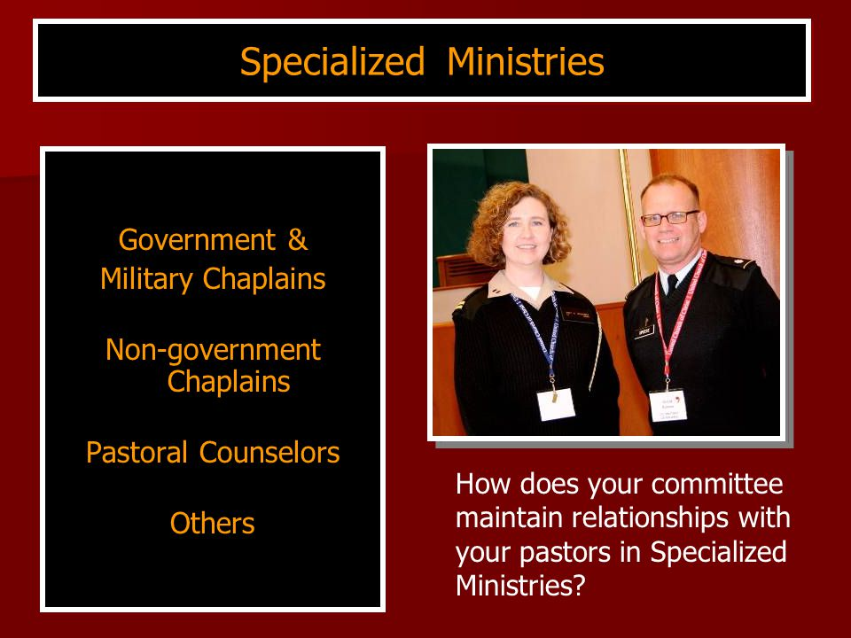 Government & Military Chaplains Non-government Chaplains Pastoral Counselors Others Specialized Ministries How does your committee maintain relationships with your pastors in Specialized Ministries?