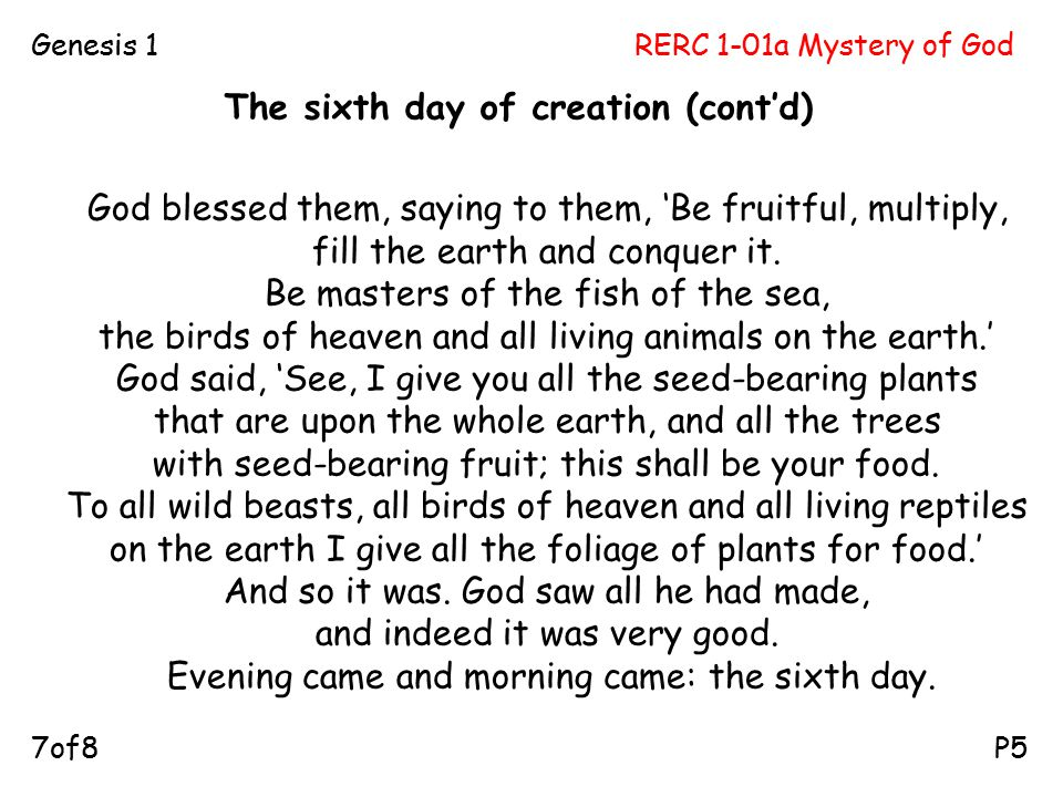 RERC 1-01a Mystery of GodGenesis 1 P57of8 God blessed them, saying to them, 'Be fruitful, multiply, fill the earth and conquer it.