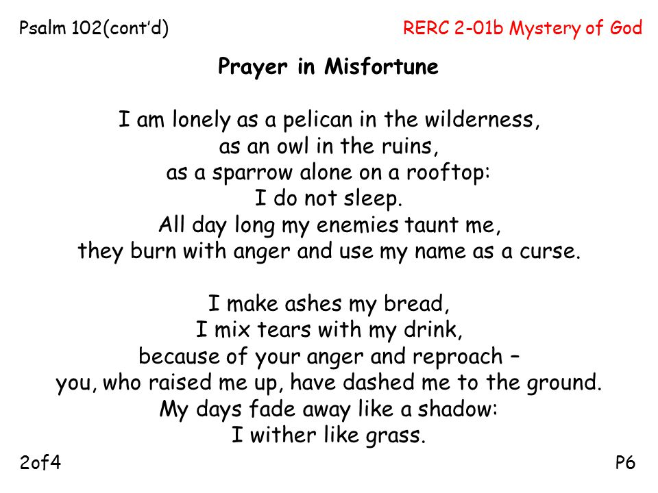 RERC 2-01b Mystery of GodPsalm 102(cont'd) P62of4 Prayer in Misfortune I am lonely as a pelican in the wilderness, as an owl in the ruins, as a sparrow alone on a rooftop: I do not sleep.