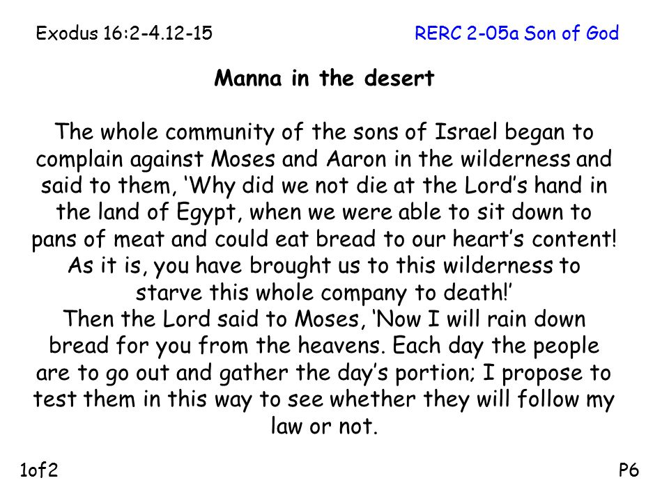 Manna in the desert The whole community of the sons of Israel began to complain against Moses and Aaron in the wilderness and said to them, 'Why did we not die at the Lord's hand in the land of Egypt, when we were able to sit down to pans of meat and could eat bread to our heart's content.