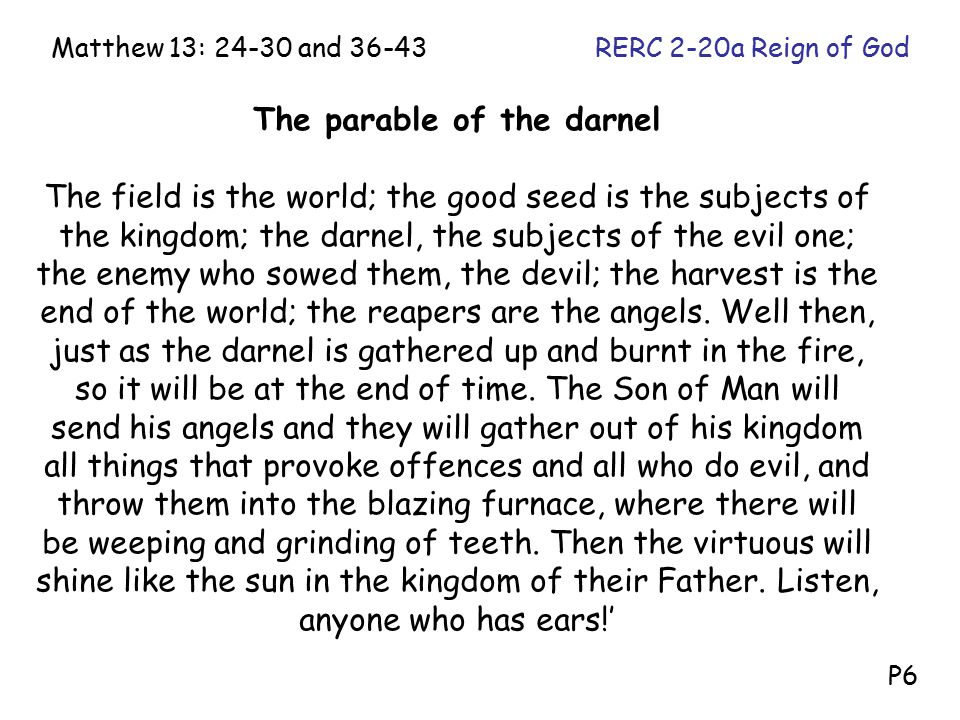 The parable of the darnel The field is the world; the good seed is the subjects of the kingdom; the darnel, the subjects of the evil one; the enemy who sowed them, the devil; the harvest is the end of the world; the reapers are the angels.